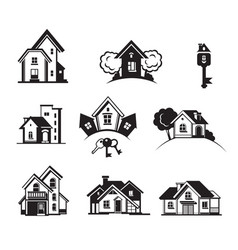houses black icon set vector image vector image