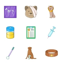 Pet veterinary clinic icons set cartoon style vector image