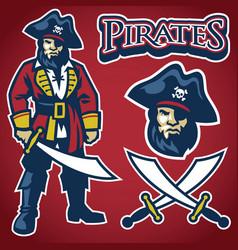 pirate mascot set vector image vector image
