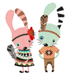 two cute rabbits on a white background vector image vector image