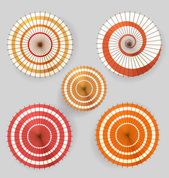 asian paper umbrella top view collection vector image