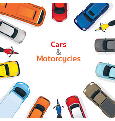 cars and motorcycles top or above view frame vector image vector image