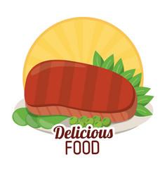 delicious food beef steak tasty vegetables sticker vector image