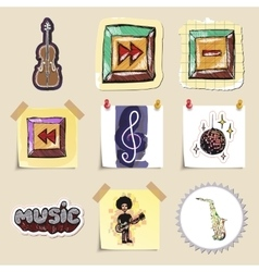 Hand drawn music emblems set Isolated vector image vector image