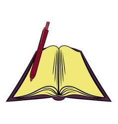 open textbook icon cartoon vector image