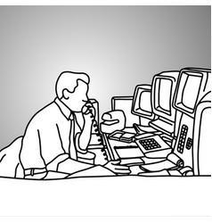 businessman using desk telephone vector image