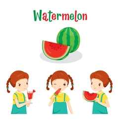 Girl With Watermelon Fruit Juice Ice Cream vector image vector image
