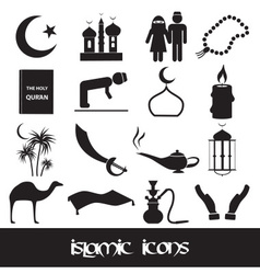 islamic religion simple black icons set eps10 vector image