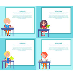 Learning banners set with children sitting at vector
