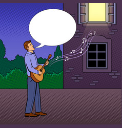 man sings serenade pop art vector image