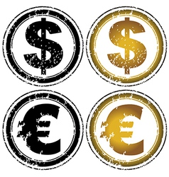 Rubber stamp set with dollar and euro symbols vector image vector image