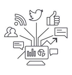 social marketing line icon sign vector image vector image