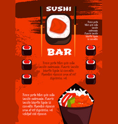 Sushi bar poster template japanese cuisine design vector