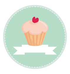sweet retro cupcake button with white place vector image