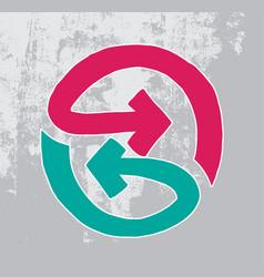 symbol of bidirectional arrows hand drawn vector image