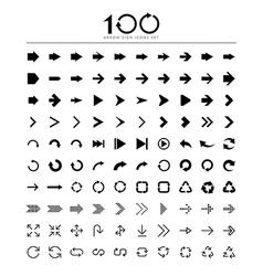 100 Basic arrow sign icons set vector