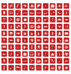 100 street festival icons set grunge red vector