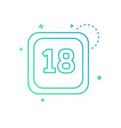 18 date calender icon design vector image
