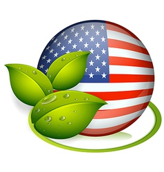 A ball with the flag of the United States and with vector image