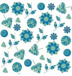 abstract fantasy floral seamless pattern in blue vector image