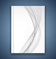 Abstract swoosh grey wave brochure template vector image