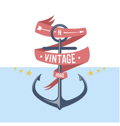 Anchor nautical and marine sailing themed label vector