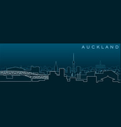 Auckland multiple lines skyline and landmarks vector
