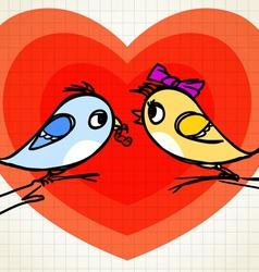 Birds lovers on tree vector image