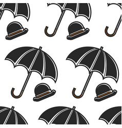 bowler hat and umbrella british symbols seamless vector image