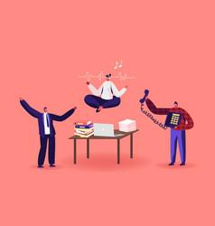 Calm employee break in messy office female vector