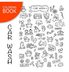 car washing icons sketch for your design vector image