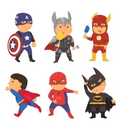 Cartoon superhero costume kids vector