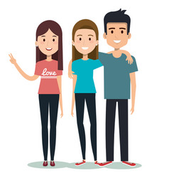 characters embracing three friends on white vector image
