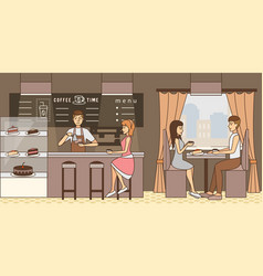 Coffee time concept in flat vector
