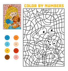 Color by number princess and dog vector