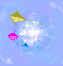 Colored kites flying in blue sky freedom concept vector