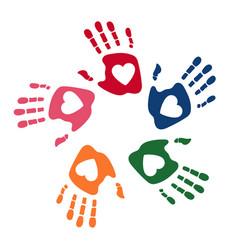 colorful human palms childrens handprint logo vector image