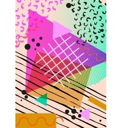 Colorful trendy Neo Memphis geometric poster vector