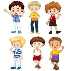 cute boys with happy face vector image