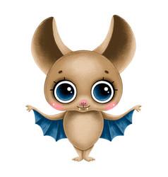 Cute cartoon brown bat with big eyes vector