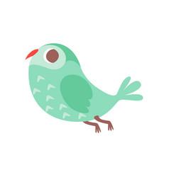 Cute cartoon green owlet bird character flying vector