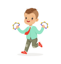 cute little boy playing handbell tambourine young vector image vector image
