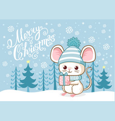 Cute merry christmas card with a cute little mouse vector