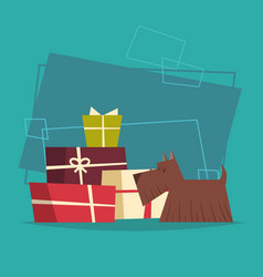 dog with gifts stack box new year and christmas vector image