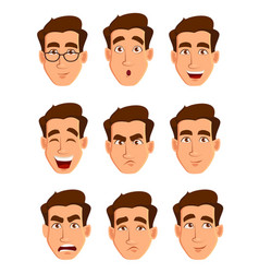 Face expressions of a man different male emotions vector