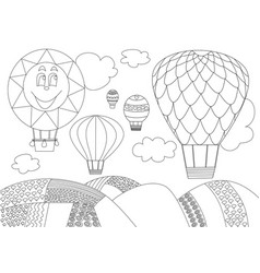 Five balloons flying the sky - black and white vector