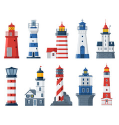 Flat lighthouses and sea guide lights vector
