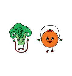 flat sketch fruits vegetables doing sport vector image