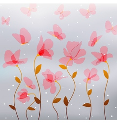 flower red butterfly vector image