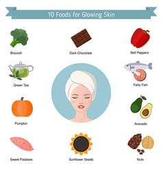 foods infographics glowing skin foods vector image
